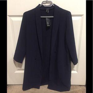 Long navy blazer